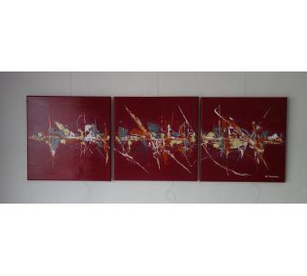 Déco rouge cerise avec un tableau contemporain : Au temps des cerises