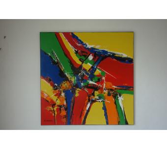 Grande peinture murale colorée :  Air magique