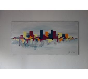 Déco fuchsia, bleu et jaune avec un tableau moderne : Un endroit secret