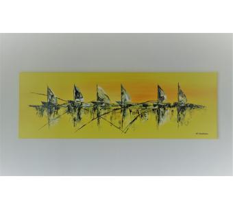 Déco style marin avec tableau jaune moderne bateaux au couteau : Soif d'évasion