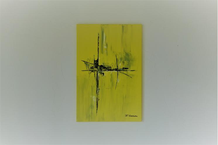 Déco lumineuse avec le tableau jaune abstrait : Ville ensoleillée