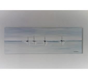 Déco marine gris clair avec un grand tableau design : Bercés par l'écume
