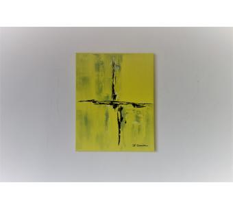 Tableau jaune abstrait : Rêves d'or