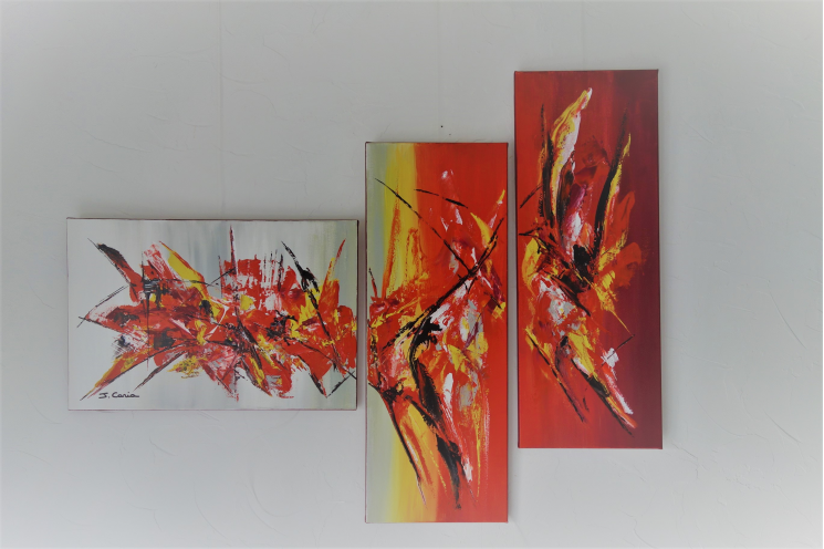 Accessoire déco original et coloré avec un triptyque unique : Mouvement du Renouvement