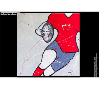 Tableau RUGBY EXPLOSIF(tableau gris rouge) moderne