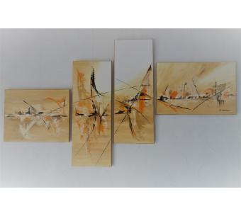 Tableau polyptyque marron et beige : La liberté des souvenirs