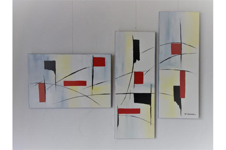 Déco gris et jaune avec un grand tableau contemporain : Laisser venir les choses