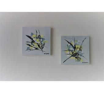 Tableaux modernes gris et jaunes : Rayonnement
