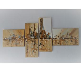 Déco marron avec une grande décoration murale moderne : Un endroit chaleureux