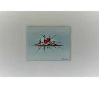 Déco moderne minimaliste avec un tableau gris : Une ville tranquille