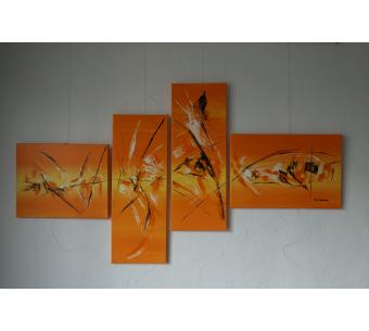 Déco orange moderne avec un grand tableau : Une atmosphère chaude