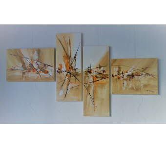 Tableau toiles modernes marron : Une terre radieuse