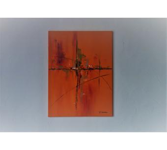 Déco murale orange vif avec un grand tableau moderne : Une ville en quête d'émotions