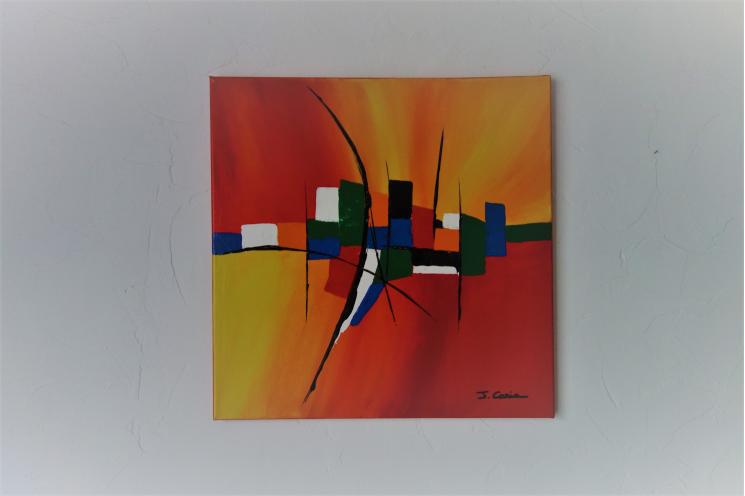 Tableau peinture contemporaine lumineuse : Une vie colorée