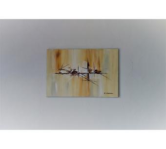 Peinture moderne beige et marron : A la fin de l'été