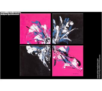 Tableau PINK AND BLACK (quadriptyque rose et noir) moderne