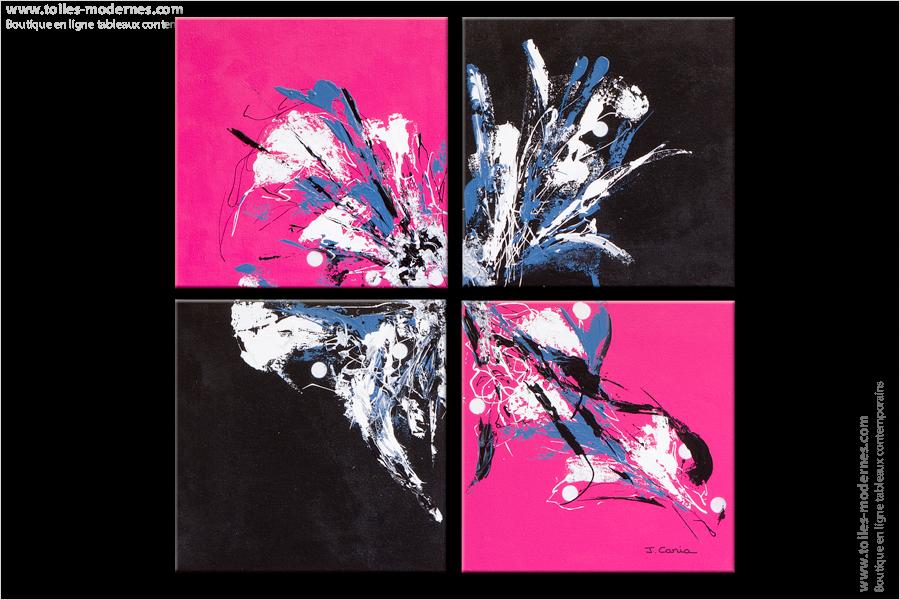Tableau pink and black rose et noir moderne