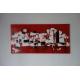 Tableau rouge contemporain XXL : Une ville endormie