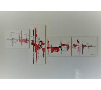 Grand tableau blanc compsé de 4 toiles : Une ville florissante
