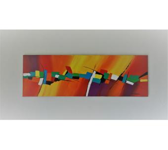 Tableau coloré géant sur toile d'art contemporain : Croquer la vie à pleines dents