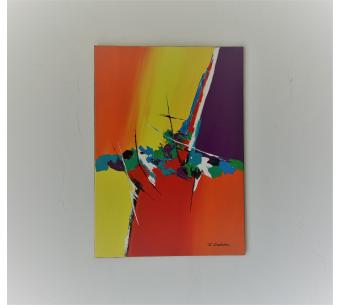 Toile abstraite colorée sur châssis : Des moments heureux