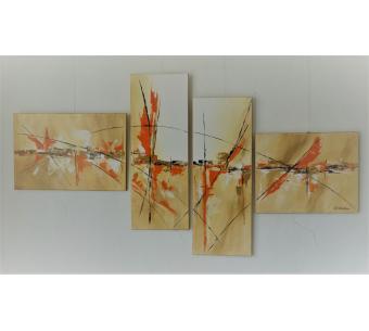 Tableau quadriptyque marron et orange : Une terre accueillante