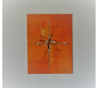 Grande peinture orange sur toile  : Richesse éternelle