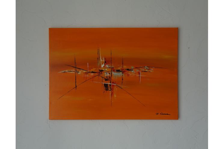 Tableau peinture orange pour déco design : Une existence heureuse