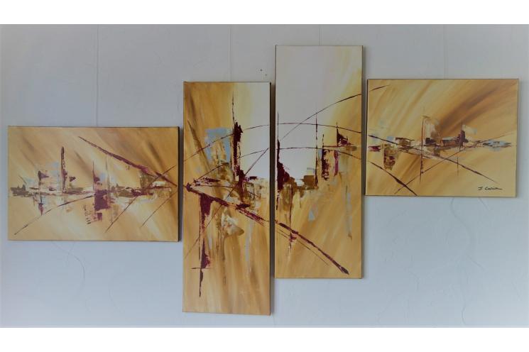 Grande oeuvre murale marron et bordeaux : Ville aux sensations fortes