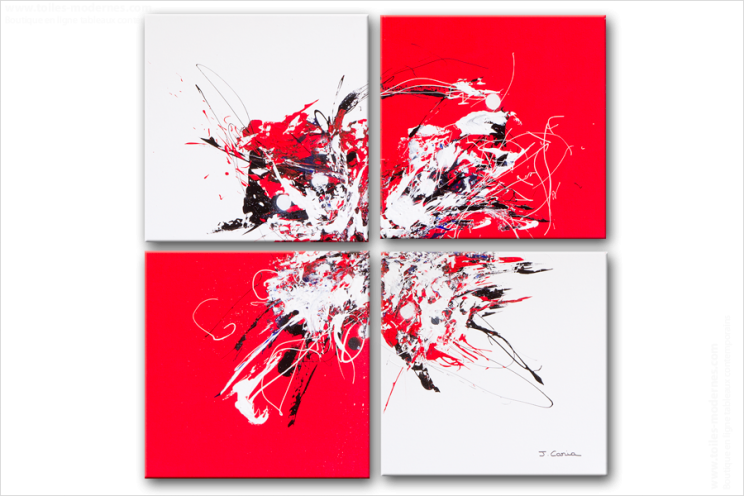 Quadriptyque moderne red and white rouge et blanc for Tableau decoratif pas cher