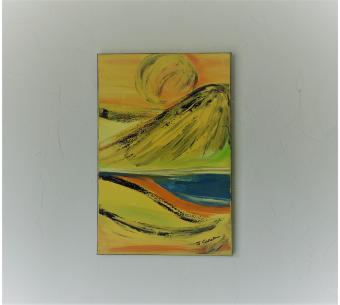 Peinture paysage contemporain jaune: La vie à la campagne