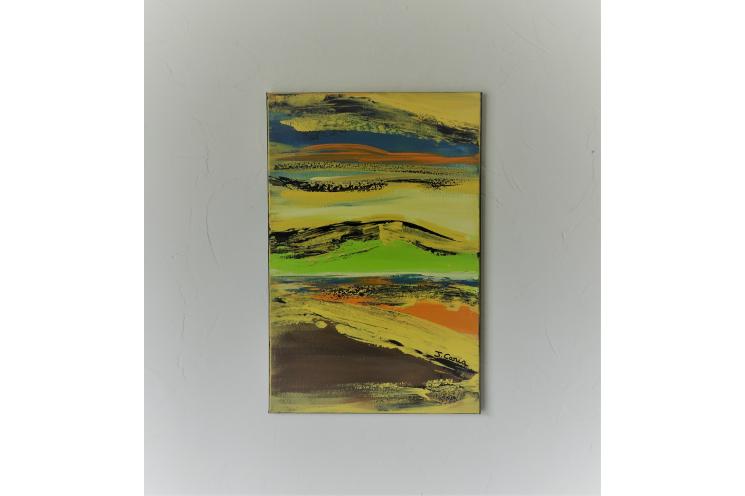 Toile paysage contemporain jaune : Vivre au grand air