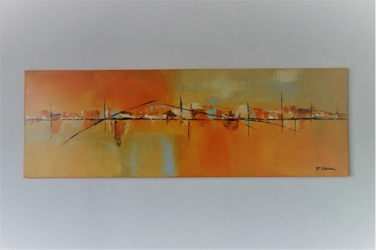 Peinture paysage urbain orange contemporain  : Ville paisible