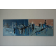 Grande décoration murale bleu contemporain : Utopie urbaine