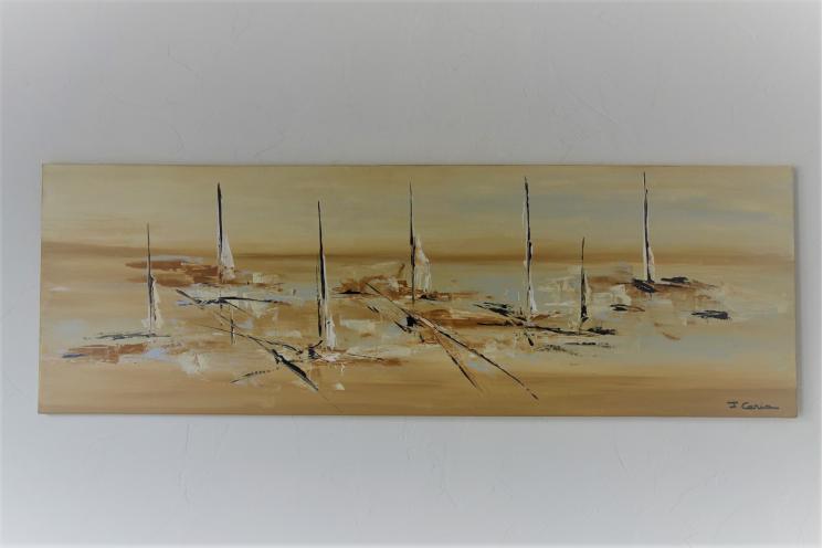 Grande toile marine contemporaine format panoramique : Vivre pour s'en aller