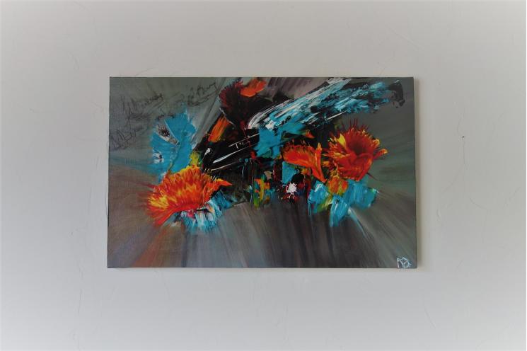 Tableau peinture fleurs abstraites colorées : Belles pensées
