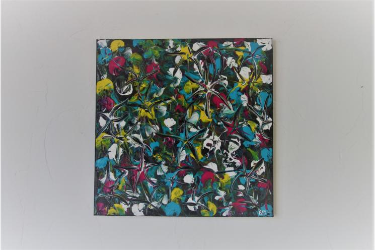 Tableau contemporain avec motif floral : Explosion de fleurs et de couleurs