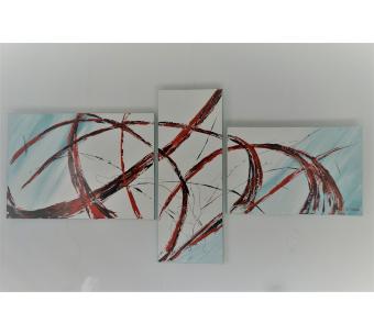 Triptyque moderne gris et blanc art abstrait : Imagination exubérante