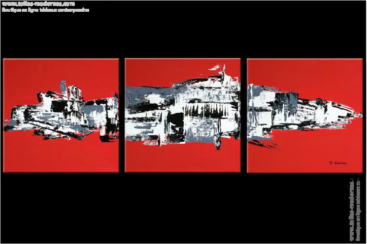 Tableau NEW CIVILIZATION (triptyque rouge) moderne