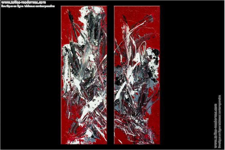 Tableau VIBRATIONS(diptyque rouge) moderne