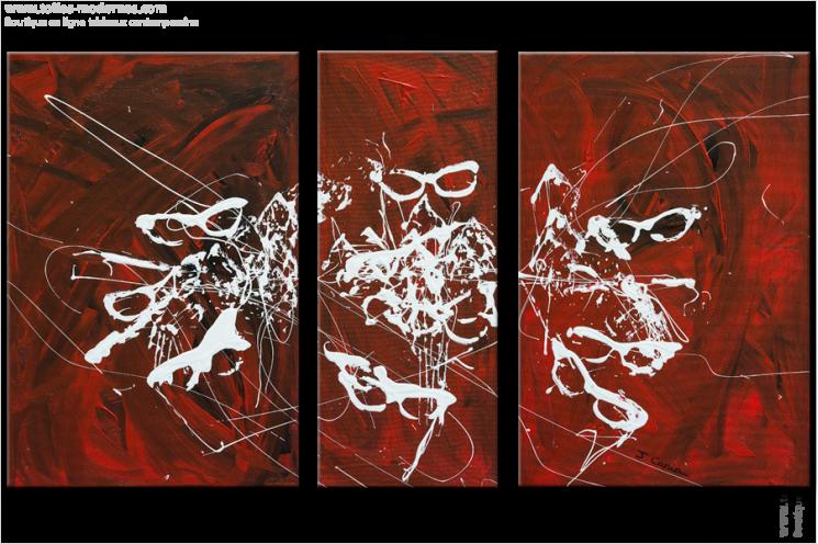 Tableau CARNAVAL (triptyque rouge) moderne