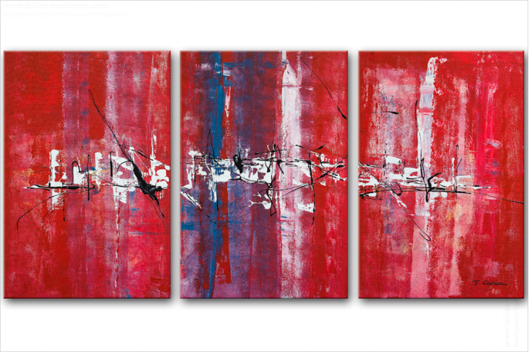 Tableau NOT AN ORDINARY CITY (triptyque rouge) moderne
