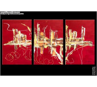 Tableau FIREWORKS (triptyque contemporain) moderne