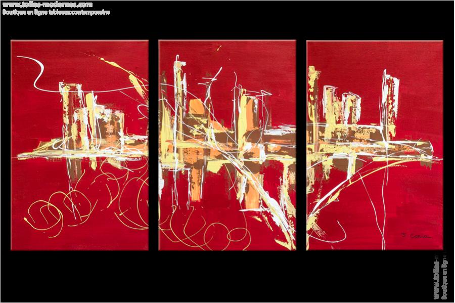 Triptyque abstrait rouge panoramique design tableaux - Tableau contemporain abstrait design ...