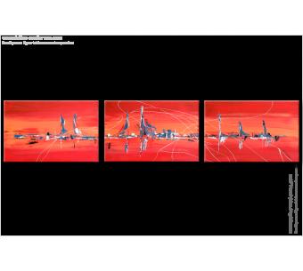 Tableau VOYAGE (triptyque rouge) moderne