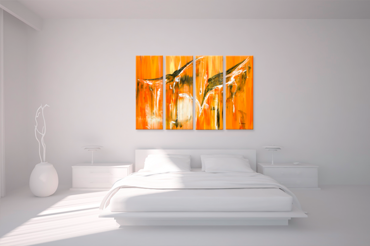 Quadriptyque abstrait orange grand format rectangle quadriptyque moderne oran - Tableau decoration interieur ...