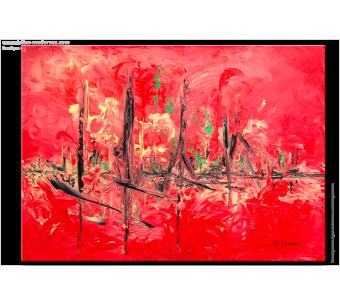 Tableau HAPPY JOURNEY (tableau rouge) moderne