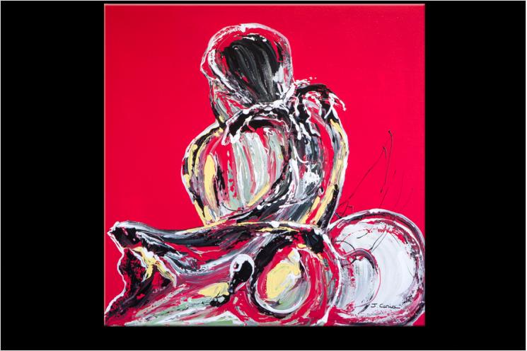 Tableau L'ATTENTE D'UNE FEMME (tableau rouge) moderne