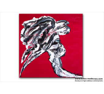 Tableau VENISE EN AMOUREUX (tableau rouge) moderne