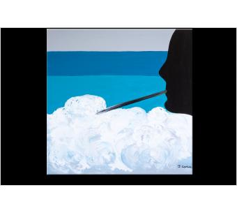 Tableau ESCAPE IN THE BUBBLES (tableau bleu) moderne